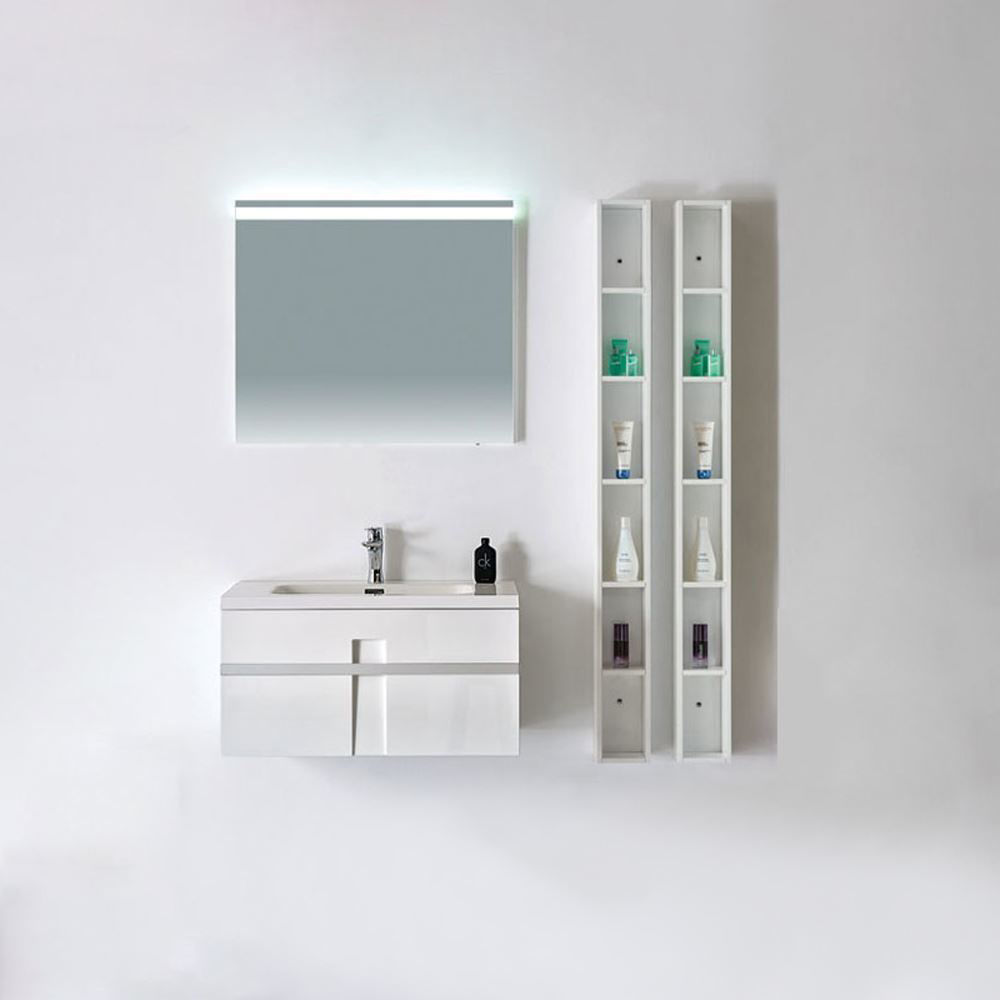 """24"""" Modern Single Bathroom Vanity Solid Plywood Wall Hung Cabinet Mino Glossy White"""