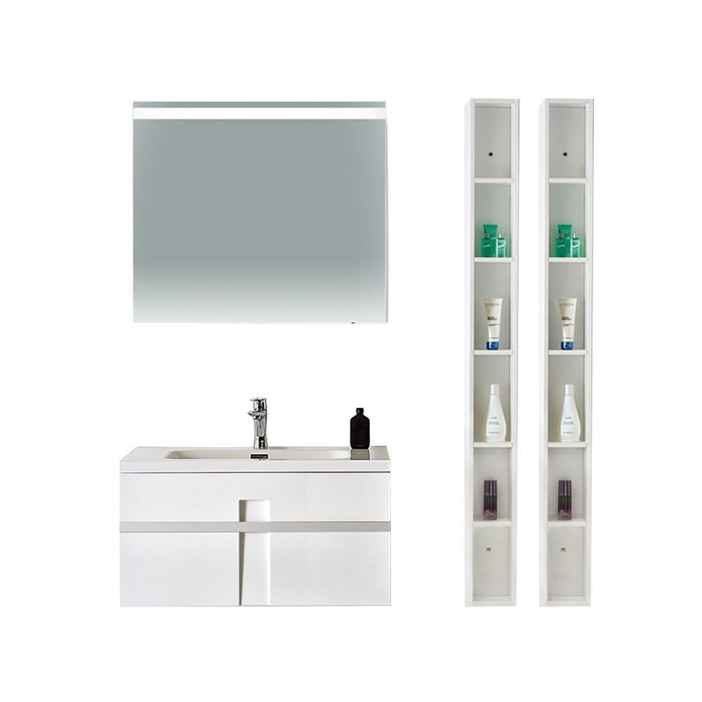 "24"" Modern Single Bathroom Vanity Solid Plywood Wall Hung Cabinet Mino Glossy White"