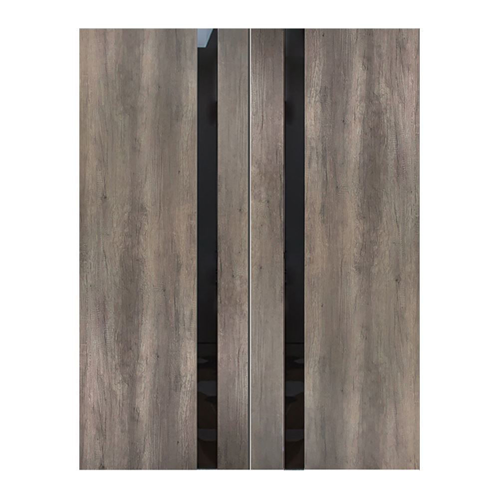 "Fossil Gray Modern Interior Double Door, 64"" x 80"""