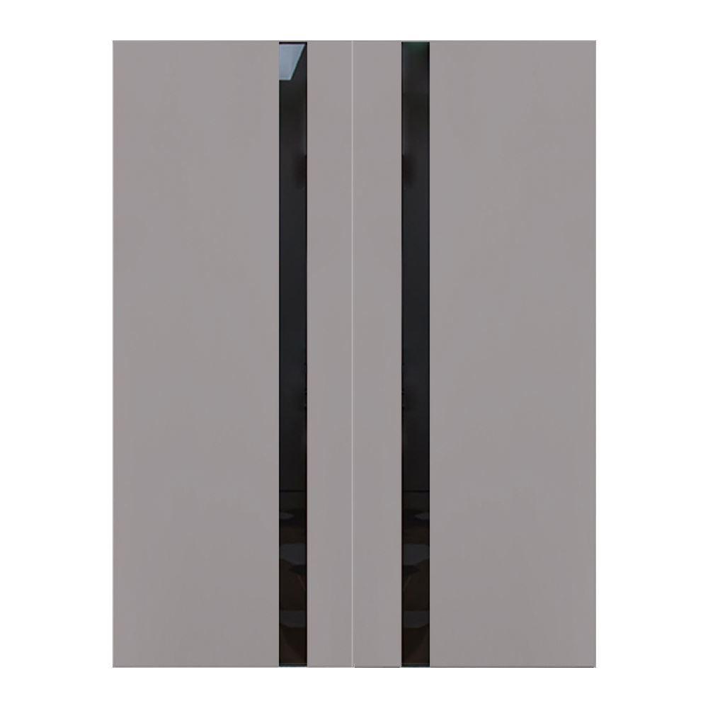 """Elephant Gray Wooden Interior Double Door, 60"""" x 80"""""""