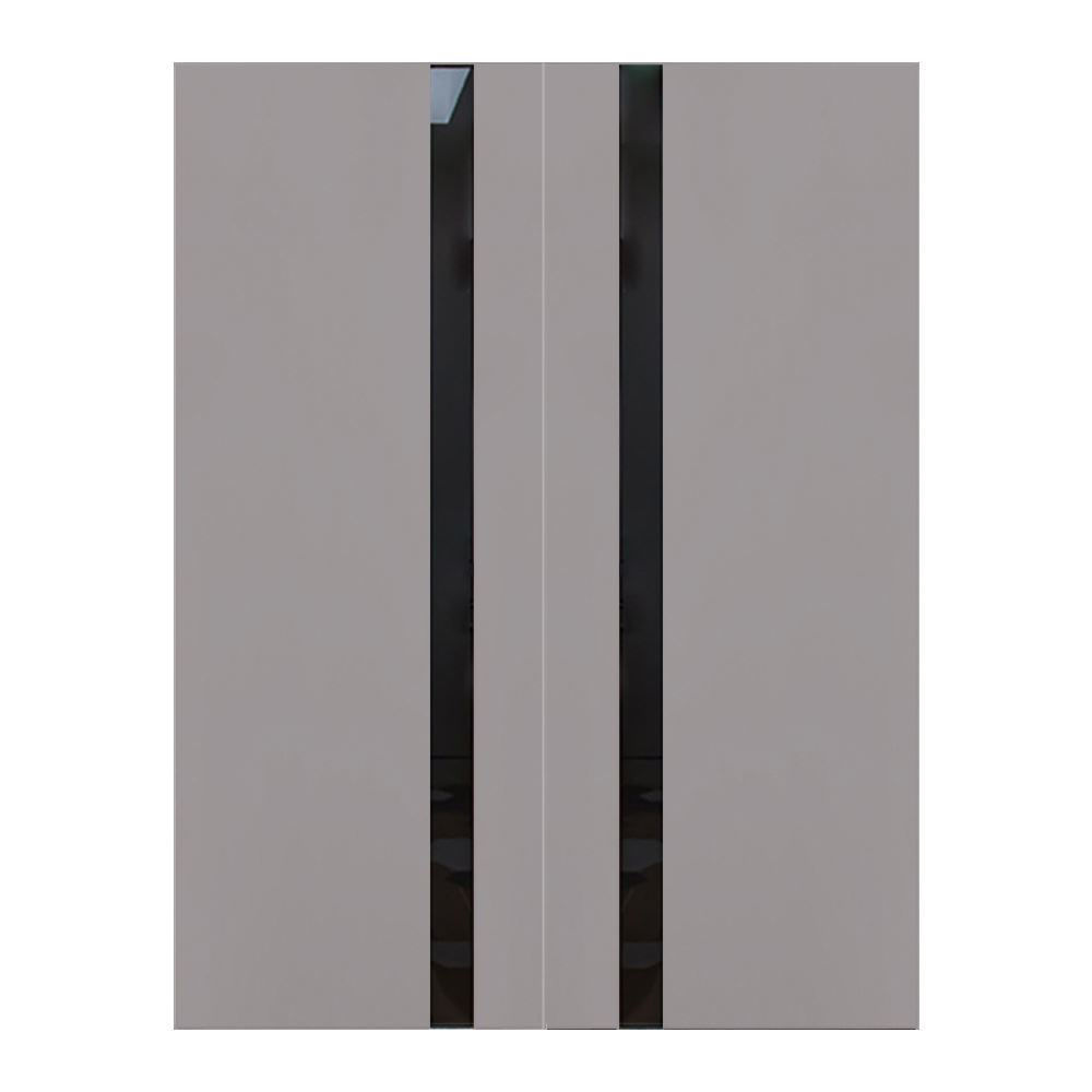 "Elephant Gray Wooden Interior Double Door, 72"" x 80"""