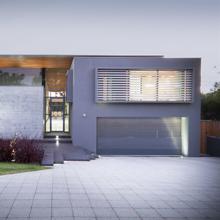 Gray Modern Frameless Glass Garage Door – Moderno 16' x 7' D