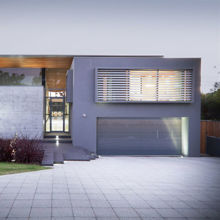 Gray Modern Frameless Glass Garage Door – Moderno 8' x 7' D