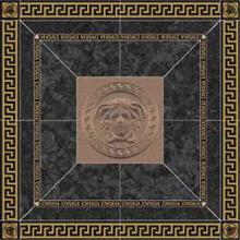 "Versace Italian Rosone Nero Oro Porcelain Tile 46"" x 46"", Meteorite"