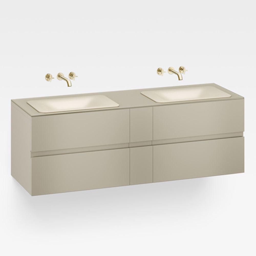"""Italian Modern Bathroom Vanity Set, Armani 71"""" Greige, G"""