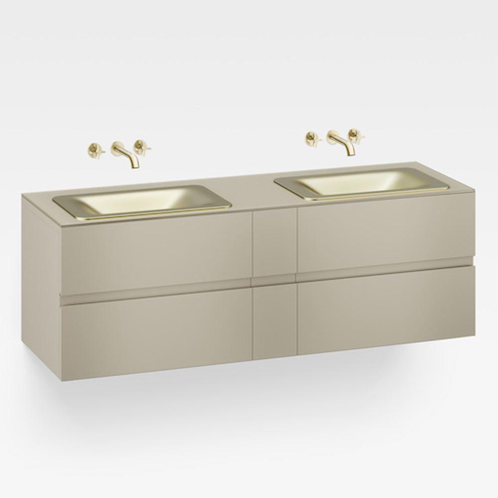 """Italian Modern Bathroom Vanity Set, Armani 71"""" Greige, SMG"""