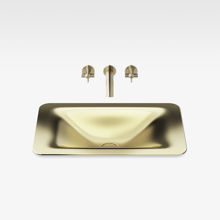 "Italian Modern Bathroom Vanity Sink, Armani 26"" Matt Gold"