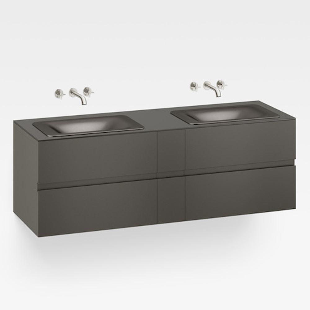 "Italian Modern Bathroom Vanity Set, Armani 71"" Nero, SDM"