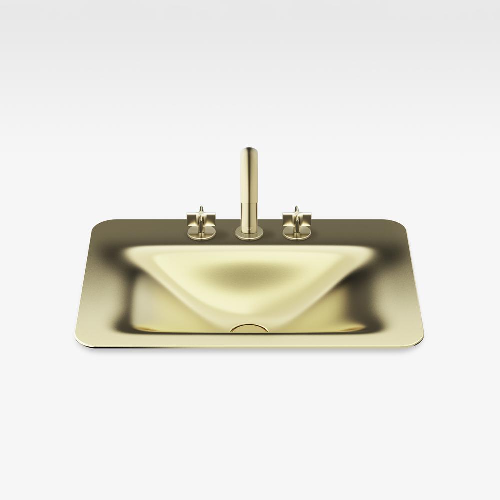 "Italian Modern Bathroom Vanity Sink And Faucet, Armani 26"" Matt Gold"
