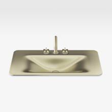 "Italian Modern Bathroom Vanity Sink And Faucet, Armani 36"" Matt Gold"