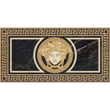 "Versace Italian Rosone Nero Porcelain Tile 23"" x 46"", Marble"