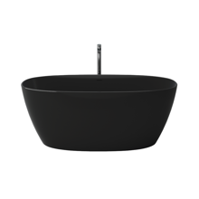 """Picture of Como Black 67"""" Solid Surface Freestanding Bathtub"""