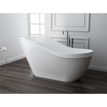"""Picture of 67"""" Onda Solid Surface White Soaking Freestanding Bathtub"""