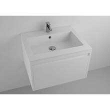 """Picture of Lugano 24"""" Matt White Solid Surface Single Vanity Sink"""