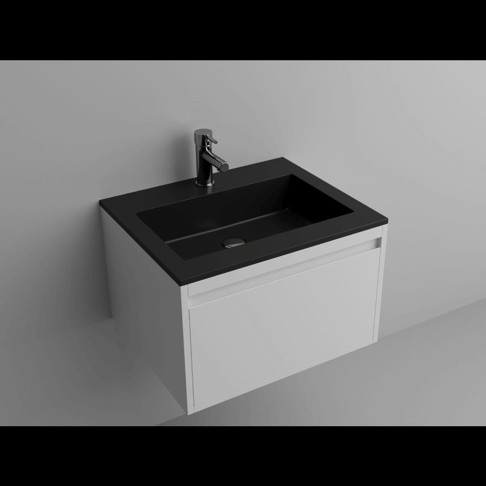 "Picture of Lugano 24"" Matt Black Solid Surface Single Vanity Sink"