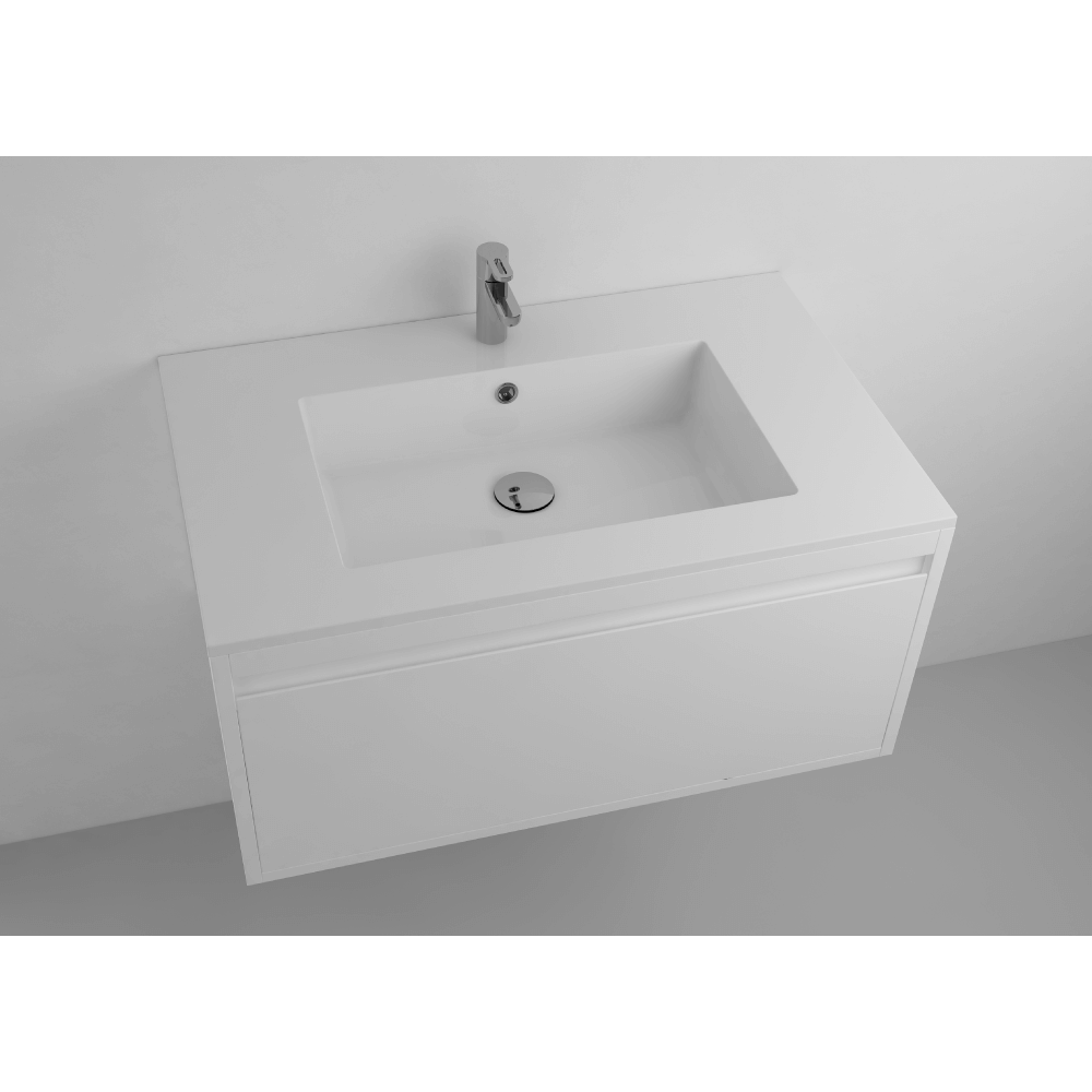 """Picture of Lugano 32"""" Matt White Single Vanity Sink, Solid Surface"""