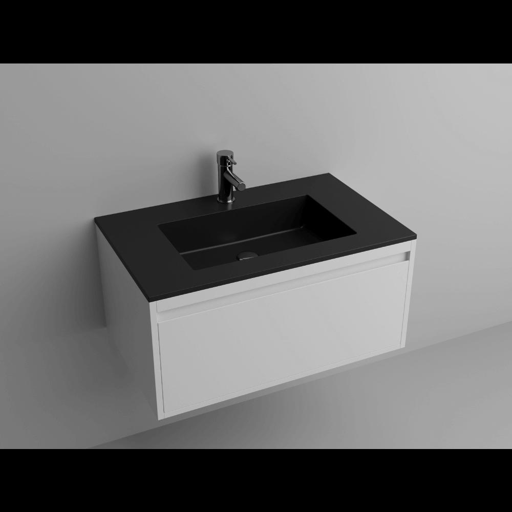 "Picture of Lugano 32"" Matt Black Single Vanity Sink, Solid Surface"