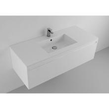 """Picture of Lugano 48"""" Matt White Solid Surface Single Vanity Sink, Center"""