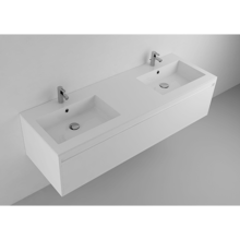 """Picture of Lugano 59"""" Matt White Solid Surface Double Vanity Sink"""