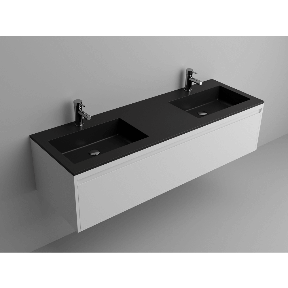 """Picture of Lugano 59"""" Matt Black Solid Surface Double Vanity Sink"""