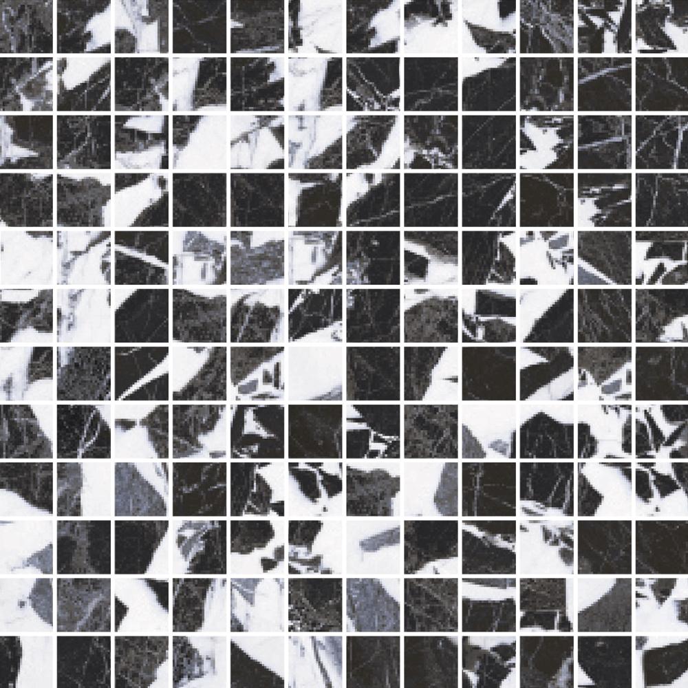 """Picture of Roberto Cavalli Lush 12""""x12"""" Noir Antique Mosaico Foglio Lux"""