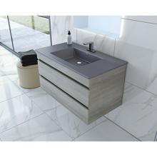 """Picture of 32"""" Glance Frozen Gray Bathroom Vanity, Matt Gray Sink"""