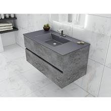 "Picture of Concrete Gray Granite 36"" Wall Hang Bathroom Vanity"