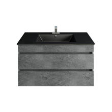 "Picture of 32""Glance Granite Bathroom Vanity, Matt Black Sink"