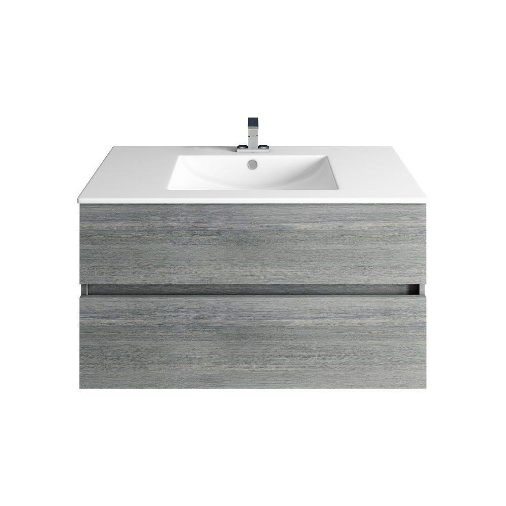 Picture of 32'' Frozen Gray Bathroom Vanities, Matt White Sink