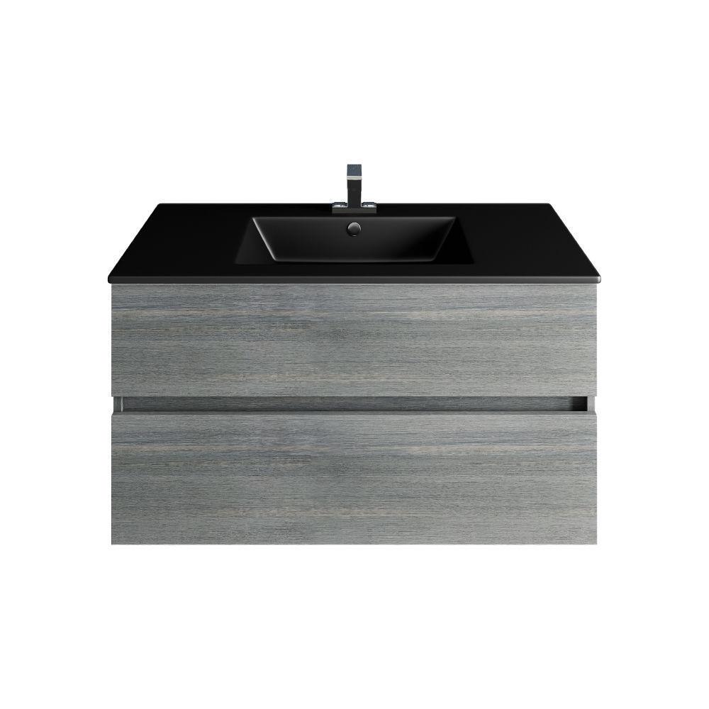 Picture of 32'' Frozen Gray Bathroom Vanities, Matt Black Sink