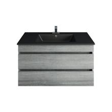 Picture of 36'' Glance Frozen Gray Bathroom Vanity, Matt Black Sink