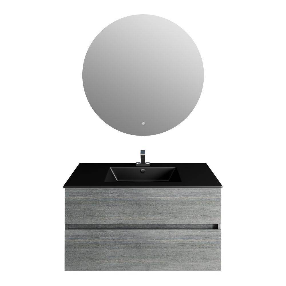 Picture of 32'' Frozen Gray Vanity, Matt Black Sink. Moon Mirror